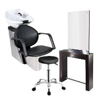 Friseur-Bedienplatz / Stühle