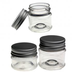 25 Tiegel glasklar aus PET mit Alu Deckel
